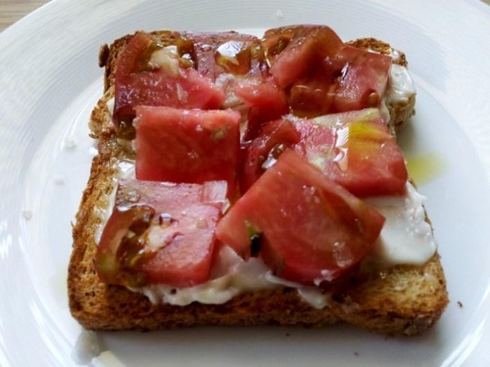 Heirloom Tomato and Mayo Toast. (c) 2012 Jennifer Duque