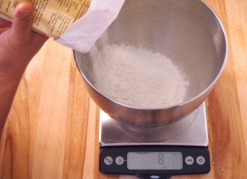 Measure by weight Flour