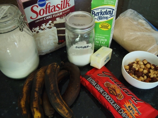 Main ingredients for banana muffins