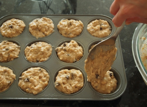 Divide batter between muffin cups